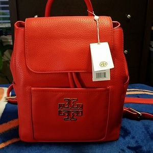 NWT Tory Burch Britten Backpack Poppy Red